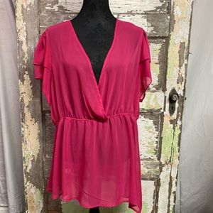 Torrid | Sheer Pink Top with Ruffle Sleeve Size 3